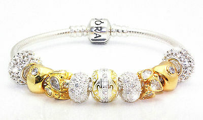 Authentic Sterling Silver Pandora Bracelet +GENERIC 18K Gold PLT Charms & Beads