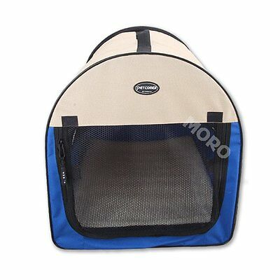 Portable Pet Dog Soft Folding Cage Kennel House Travel Carrier Crate Blue
