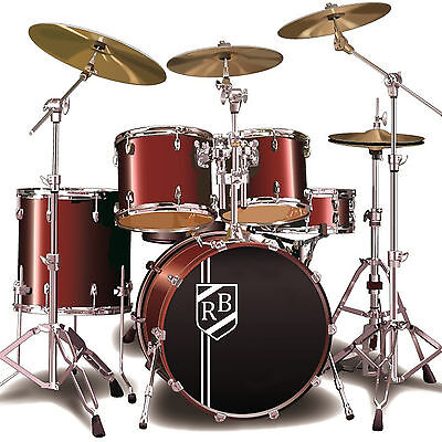 Custom Bass Drum Sticker Personalised Initials Shield Crest Kick Drum Decal