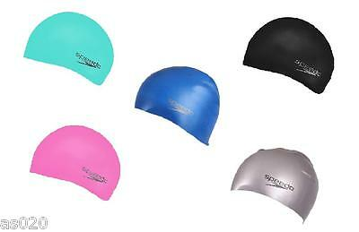 Speedo Silicone Moulded Unisex Swimming Cap - Black Pink Royal Light Blue Silver