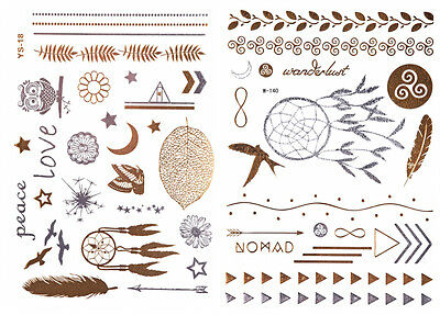 Traumfänger Set 50 Motive Flash GOLD Tattoos Klebe Tattoo Einmaltattoos W140YS18