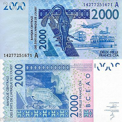 IVORY COAST 2000 Francs Banknote World Money Currency BILL Note Sign Vary Africa