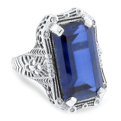9 Carat Lab Sapphire Antique Deco Style .925 Sterling Silver Ring Size 10, #36