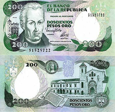 COLOMBIA 200 Peso Oro Banknote World Paper Money UNC Currency Pick p429A