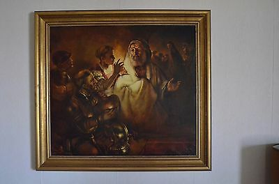 """Original hand-painted reproduction of Rembrandt's """"Peter's Denial"""""""