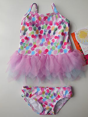 'kate Mack' Baby Girl Bathers Confetti Tutu Swimsuit Size 000 Fits 3M *new *gift
