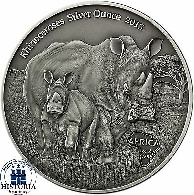 Africa Series 2015: Congo 1000 Francs Rhinoceros with Baby Silver Ounce