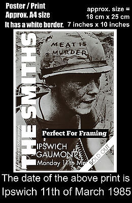 The Smiths live concert Ipswich Gaumont Theatre 11th March 1985 A4 poster print