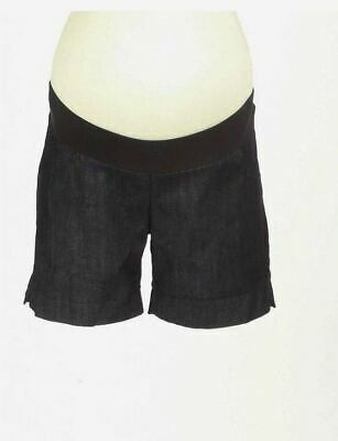 New Japanese Weekend Maternity Casual Black Denim Shorts Small S 6 8