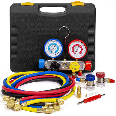 4 Way AC Manifold Gauge Set R134a R410A R404A R22 w/Hoses Coupler Adapters Case