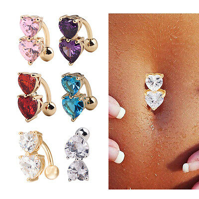 Wholesale Navel Belly Ring Crystal Button Bar Body Piercing Jewelry Double Heart