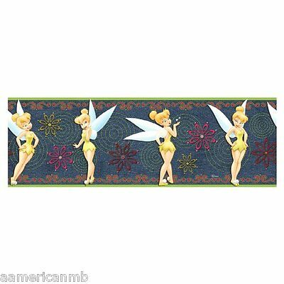 5 YD Diney Fairy Tinker Bell Prepasted Wallpaper Border Blue Denim Wall Sticker