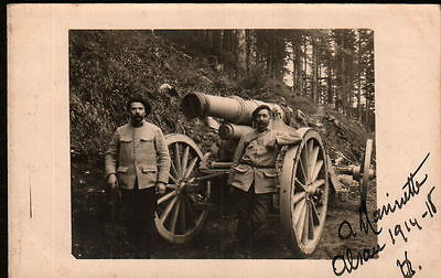 X4031  WW1  SOLDIERS WITH THEIR CANON IN ALSACE RPPC