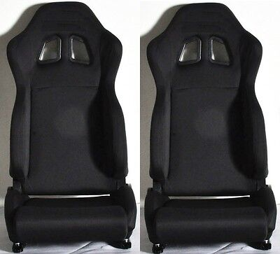New 2 Black Cloth Racing Seat Reclinable + Sliders For Chevrolet ****