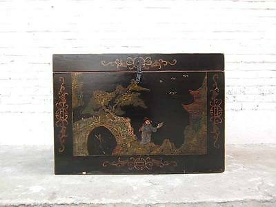 Chest in ancient China style finest golden drawings on black lacquer only by  Lu