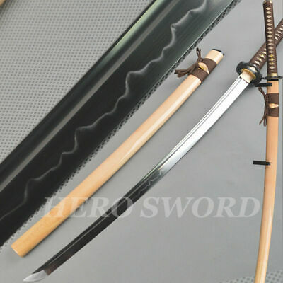T11095 High Carbon Steel Clay Tempered KATANA Red Real Hamon Black Blade Samurai