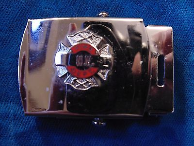 vintage OBSOLETE US U.S. New York Fire Department NYFD chrome metal belt buckle