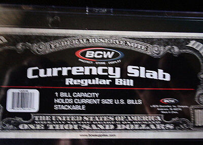 2-BCW Deluxe Currency Slab,Currency Holder-Regular or Current Size Bill