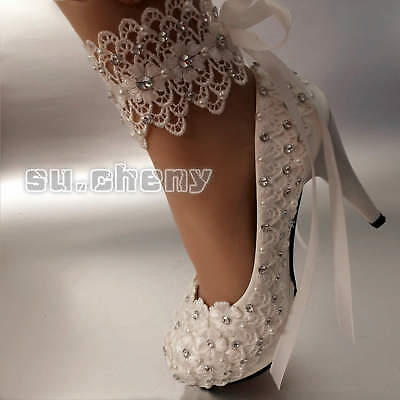 Lace white ivory pearls Wedding shoes Bridal flats low high heel pump size 5/10