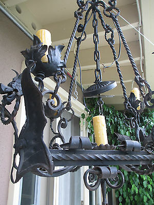 Early Antique  Italian Gothic st  5 lights Figural Gargoyle IRON Chandelier #1
