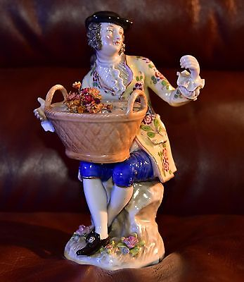 ANTIQUE Sitzendorf Porcelain FIGURINE MAN WITH FLOWERS - FREE SHIPPING