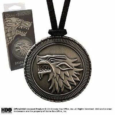 Game of Thrones House Stark DireWolf Shield Official HBO Silver Pendant Necklace