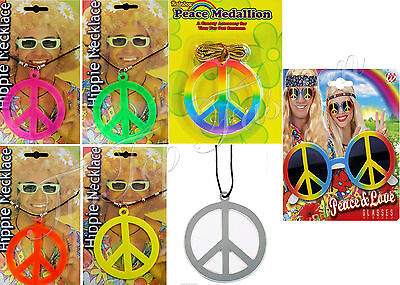 NEW HIPPIE NECKLACE PEACE SIGN 60s 70s FANCY DRESS ACCESSORIES