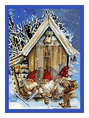 Jenny Nystrom Christmas Elves Skiing Orenco Originals Counted Cross Stitch Chart