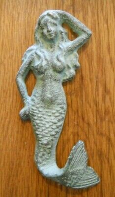 3 Cast Iron MERMAID Towel Hooks Hat Rack Nautical Swimming Pool Hook GREEN
