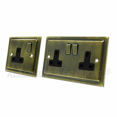 Victorian Antique Brass 1 Gang / 2 Gang Socket - 13A Single / Double Plug Outlet
