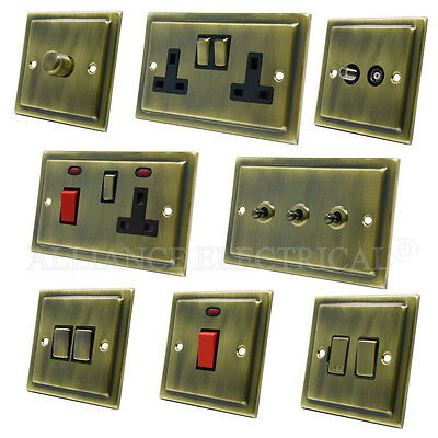 Full Range Victorian Antique Brass Dark Bronze Light Switch Socket Outlet Dimmer