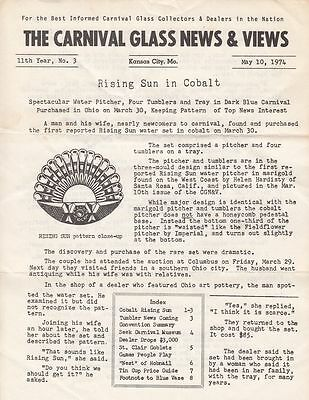 May 1974 Carnival Glass News & Views Newsletter Cobalt Rising Sun St Clair Goble