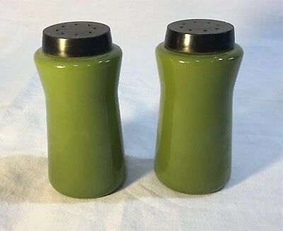 Vintage Avocado Green Glass Durkee Salt & Pepper Shakers - Mid Century Mod!