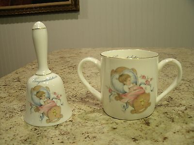 Rare Vintage Crown Staffordshire Bone China Congratulations Baby Bell and Cup