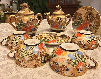 VTG Asian Japan Porcelain Hand Painted Tea Set Geisha Gold Art 10 Lot Collection