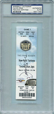 "David Cone Signed New York Yankees Full Ticket, ""2008, The Final Season"" PSA."