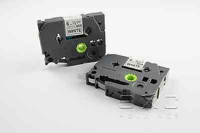 """2 Pack Compatible Brother TZ TZe 211 BLACK WHITE Label Tape  P-Touch 6mm 1/4"""""""