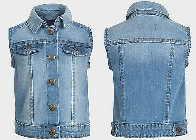 Girls Denim Jeans Collared Top Jacket Gillet Age 3 4 5 6 7 8 BNWT FREE P&P Q1