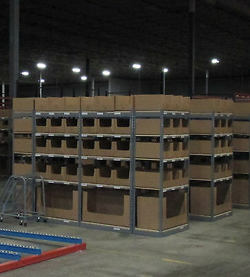"Used Rivet Shelving 18x36x72""  with 5 shelves per section with angles and T post"