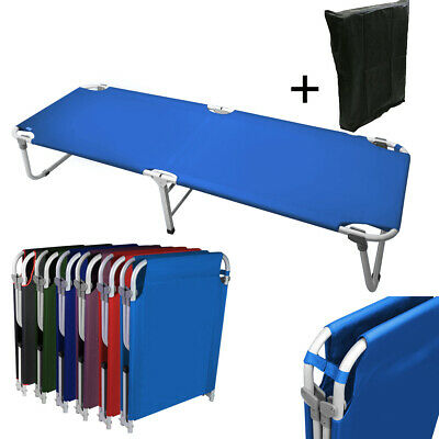 """Portable 24.5"""" W Military Cots Fold Up Bed Hiking Travel Camping - Blue+Free Bag"""