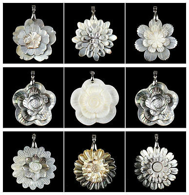 A6642 Carved shell flower pendant,DIY necklace accessory wholesale