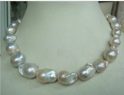 "Huge 18""18-25Mm Australian South Sea Natural White Nuclear Pearl Necklace"