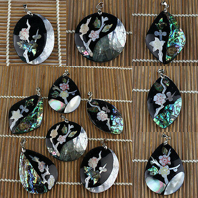 A6702 Intarsia abalone shell flower pendant,DIY necklace accessory wholesale