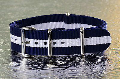 20mm [ Blue / White] Nylon Military G10 Watch Band Strap for Timex Weekender