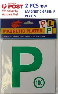 1 Pair ( 2 PCS )  Driver Magnetic  Green P Plate FOR New South Wales