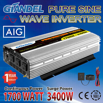 Large Shell Pure Sine Wave Power Inverter1700W/3400W Max 12V-240V+Remote Control