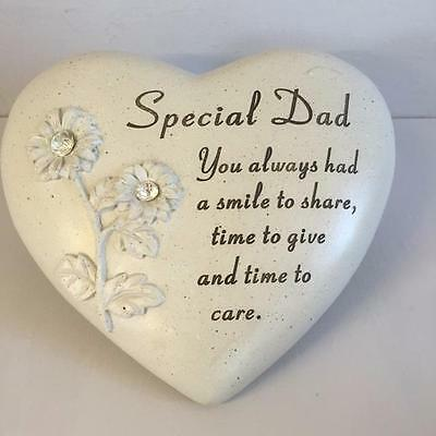 New SPECIAL DAD MEMORIAL HEART STONE with Diamante detail Grave Garden Ornament