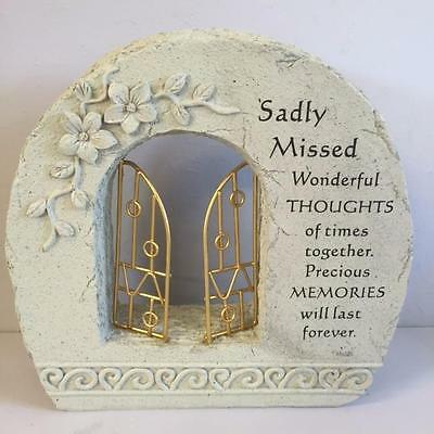 New GATES TO HEAVEN - SADLY MISSED Grave Memorial Remembrance Plaque Ornament