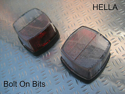 HELLA Red & White Side Markers PAIR Light/lamps SQUARE Swift/Sterling/caravan