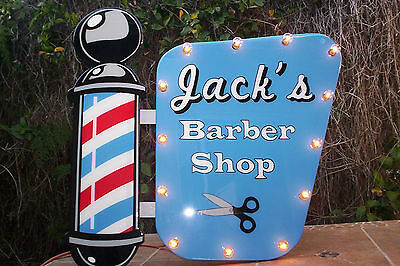 "Marquee Barber Shop sign, Lights up! Custom made Big 29"" wide! Glass finish!"
